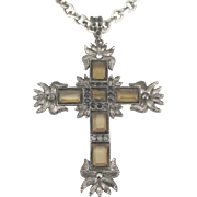 Gorgeous Large Chunky Rhinestone Silver Tone Cross and Chain