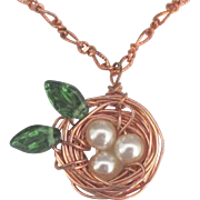 Charming Copper Woven Nest Pendant with Glass Pearls and Leaves