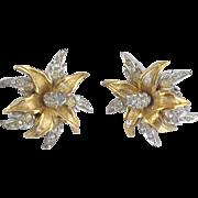 Sparkling Vintage Signed Boucher Rhinestone Pave Flower Earrings