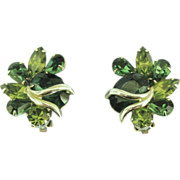 Large Vintage Weiss Emerald & Peridot Green Rhinestone Earrings