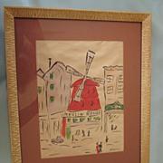 SOLD Vintage Framed Watercolor of the Moulin Rouge signed McKinney