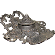 Cast Iron Victorian Inkwell