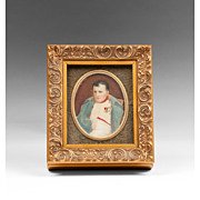 SOLD 19th C. Miniature Watercolor Portrait Of Napoleon I At Fontainebleau