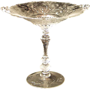Cambridge Glass Compote with Etched Design