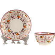 Early 19th C. English Lustre Ware Child's Tea Bowl & Saucer