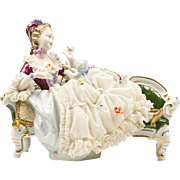 Unterweissbach German Porcelain Figurine of Woman Reclining on Recamier