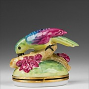 Florance Limoges Hinged Porcelain Box of Parrot