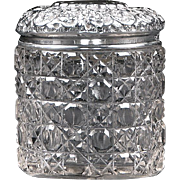 SOLD English Cut Glass Dresser Jar With Sterling Repousse Top