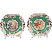 Pair of Royal Chelsea Staffordshire Rococo Style Square Cake Plates