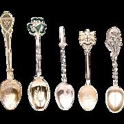 Set of Five Vintage Souvenir Spoons