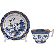 Booths Real Old Willow Blue Cup & Saucer, Gold Trim