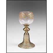 SOLD Antique Bavarian White Wine Enamel Glass Roemer or Goblet