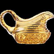 Pair of 19th C. Amber Cut Glass Sugar and Creamer