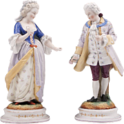 Pair of Victorian Hand Painted Bisque Figures