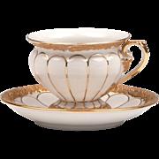 Gold & White Baroque Meissen Cup & Saucer