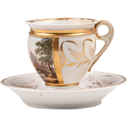 French Empire Vieux Paris Porcelain Cup & Saucer, Dartes Freres