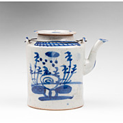 Chinese Blue & White Porcelain Cylindrical Teapot