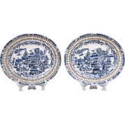 Pair of Canton Style Chinese Export Reticulated Platters