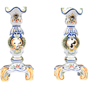 Pair of Early 20th C. Desvres Faience Candelsticks