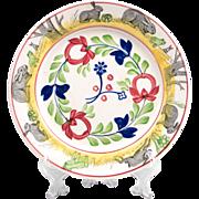 English Stick Spatter Rabbit Ware Plate, Virginia Pattern