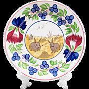 19th C. English Stick Spatter Rabbit Ware Plate
