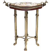 SOLD Vintage Bronze Side Table Inset With Porcelain Plate