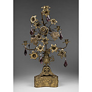 19th C. French Gothic Bronze Altar Candelabra