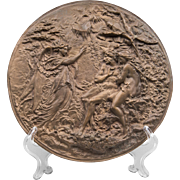 19th C. Bronze Cast Bas Relief French Roundel Of Adam & Eve