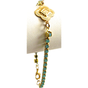 SALE Designs by Ali Brass Link with Czech Crystal Brass Rhinestone Aqua Opal Chain Bracelet
