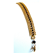 SOLD Designs by Ali Matte Gold Plated Brass with Jet Rhinestone & Fire Agate Black Bracelet
