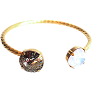 SALE Designs by Ali Matte Gold Plated Brass with Rose Water Opal and Gold Patina ...