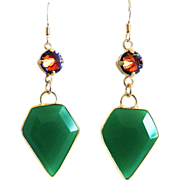 SOLD Designs by Ali Green Onyx with Light Rose Volcano Swarovski Earrings