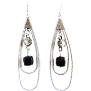 Designs by Ali Matte Rhodium Plated Teardrop with Dark Black Sardonyx Agate Earrings