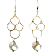 SALE Designs by Ali Matte Gold Brass Chandelier with White Agate Round Earrings
