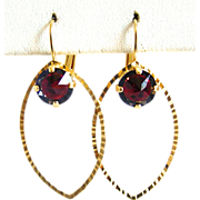 SOLD Designs by Ali Matte Gold Plated Brass Drop with Light Rose Volcano Swarovski Earrings