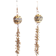SALE Designs by Ali Matte Gold Plated Rhinestone Ball and Magnesite Earrings