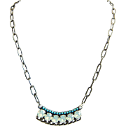 SALE Designs by Ali Antique Silver Plated Brass Chain & Turquoise Rhinestone and White Opa