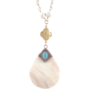 SALE Designs by Ali Matte Gold Plated with White Turquoise Rosary and Shell Pendant Necklace