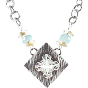 SALE Designs by Ali Antiqued Silver Plated Chain and Pendant with Crystal Swarovski Necklace