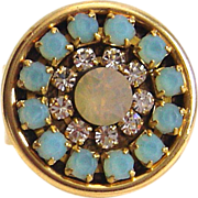 SOLD Designs by Ali Antique Gold Plated Brass with Czech and Aqua Opal Rhinestone and Sand Opa