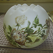 Vintage Satin Glass Rose Bowl~Roses!