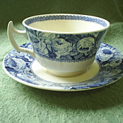 "REDUCED ""June"" Blue Roses chintz cup & saucer, vintage England"