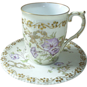 Limoges hand painted cup  saucer, lovely lavender!