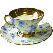 Blue Pansy chintz cup & saucer