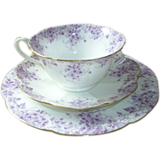RARE ~ Shelley Wileman 'Trailing Violets' cup,saucer,plate; beauties!