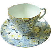 Shelley Blue Daisy chintz cup & saucer ~ Beauty!