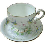 Pretty English cup & saucer, birds & florals!