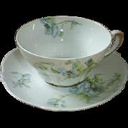 Haviland, Limoges blue floral cup & saucer, early 1900s