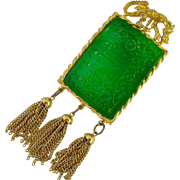 Large Chinese Motif Gold Tone Simulated Jade Dragon Pendant with Tassels