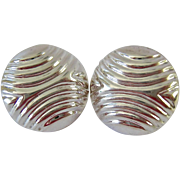 Sterling Silver 925 Swirl Design Button Earrings